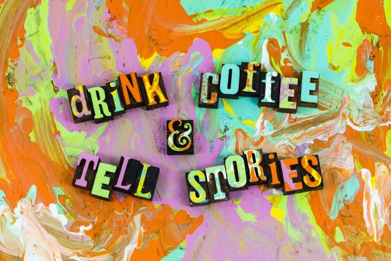 Le café de boissons racontent des histoires images stock