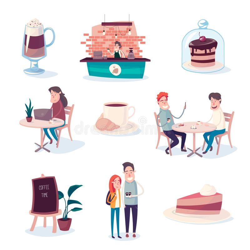 Le café et les bonbons rendent des personnes plus heureuses illustration stock