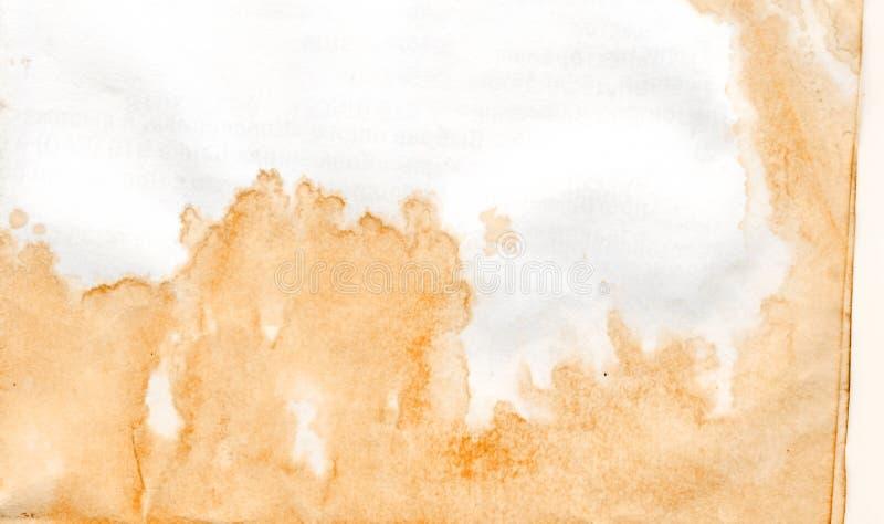 Le café et le thé ont souillé le vieux papier texturisé images libres de droits