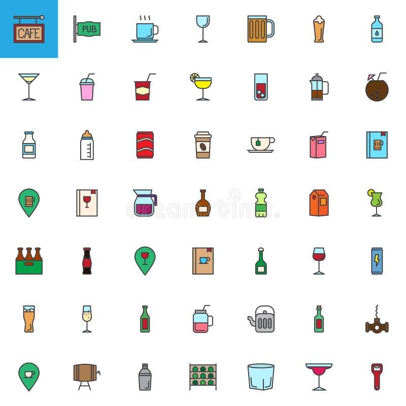 Le café, les boissons de barre et les boissons ont rempli icônes d'ensemble réglées illustration stock