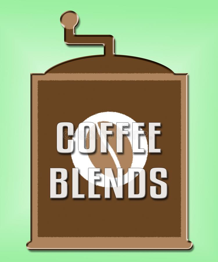 Le café mélange le mélange ou les types mélangés par expositions illustration stock