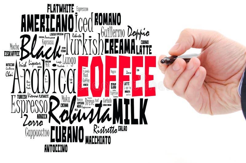 Le caf? boit le collage de nuage de mots photo libre de droits