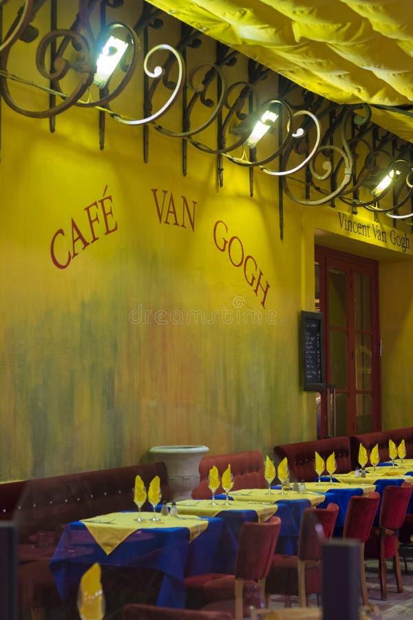 Le Cafe La Nuit in Arles, Frankreich lizenzfreies stockfoto
