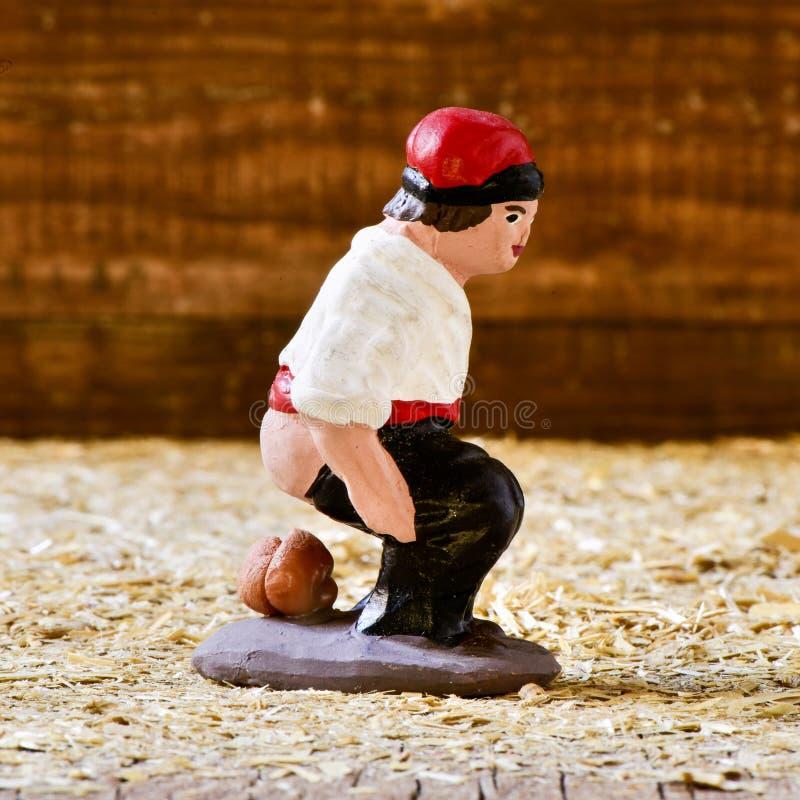 Le caganer, un caractère catalan typique dans les scènes de nativité image libre de droits