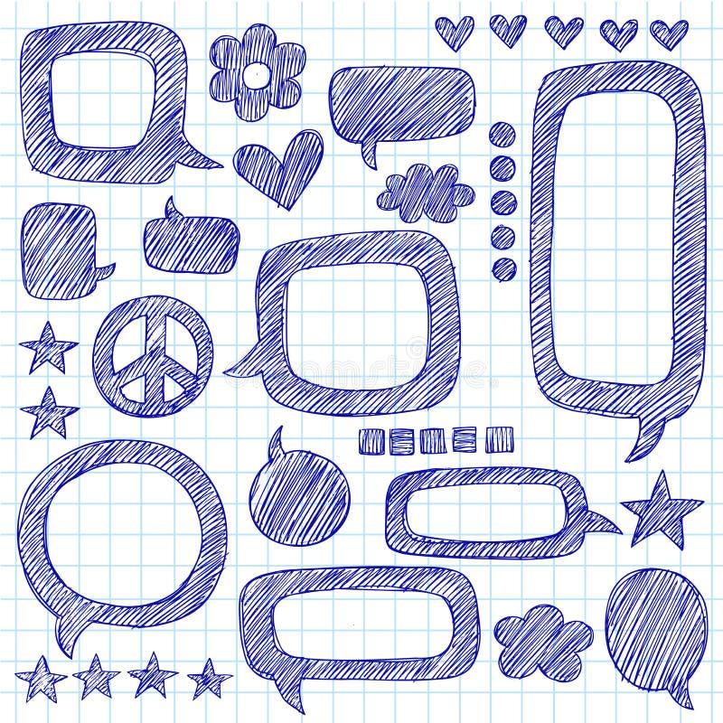Le cahier peu précis de bulles de la parole gribouille le vecteur illustration de vecteur