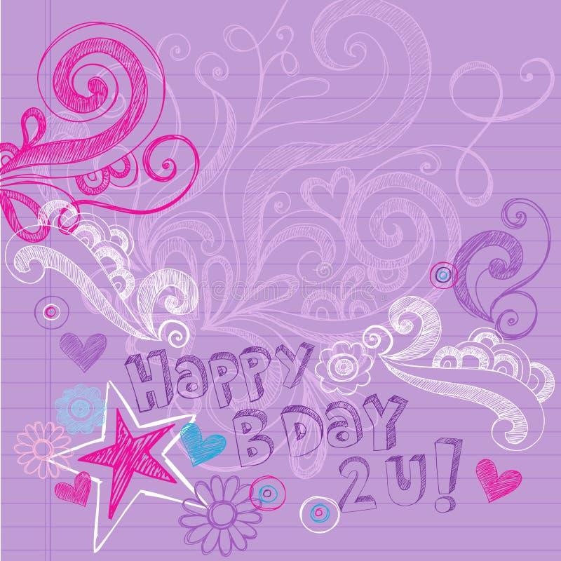 Le cahier peu précis de joyeux anniversaire gribouille le vecteur illustration libre de droits
