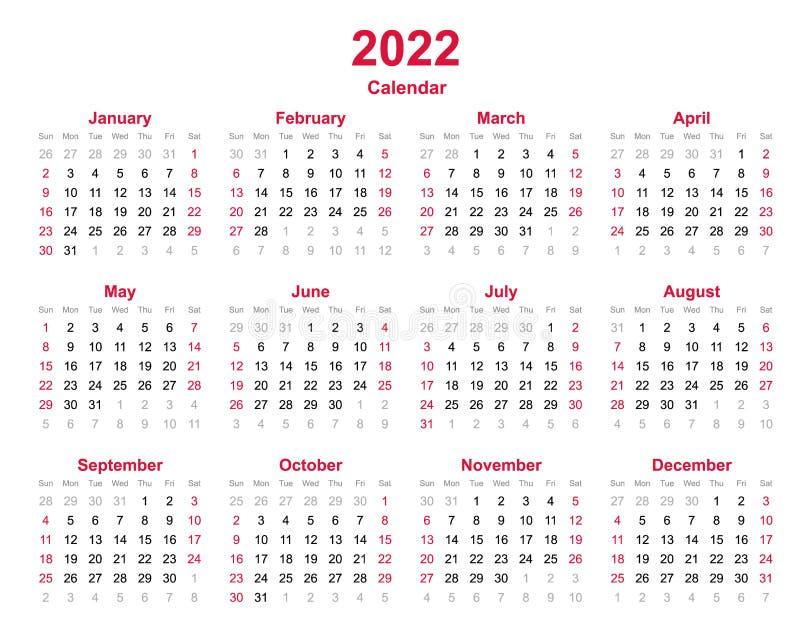 Calendrier De Lannée 2022 2022 Le Calendrier Annuel   12 Mois De Calendrier Annuel Réglé En