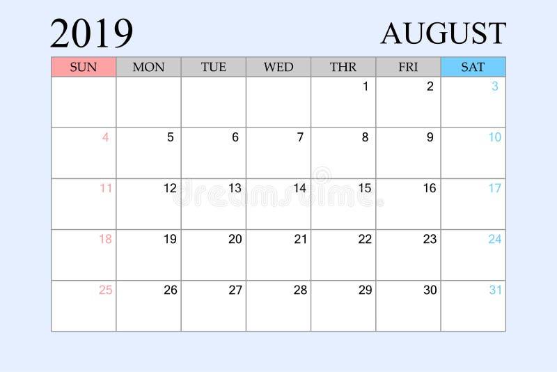 2019 le calendrier, août, planificateur de programme, organisateur, semaines commencent à partir du dimanche illustration libre de droits