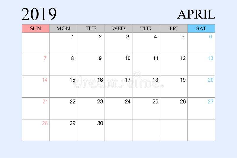 2019 le calendrier, avril, planificateur de programme, organisateur, semaines commencent à partir du dimanche illustration stock