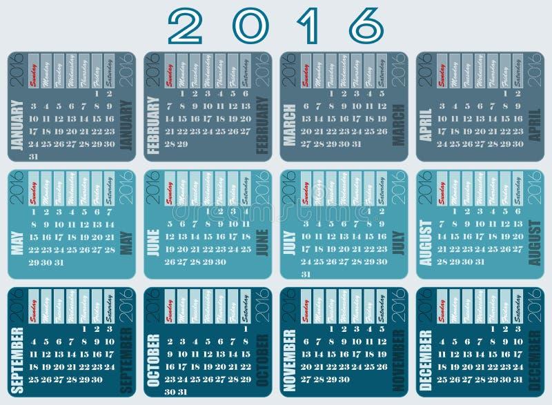 Le calendrier 2016 a conçu avec le nom et prénoms des jours et a assorti des nuances grises illustration de vecteur