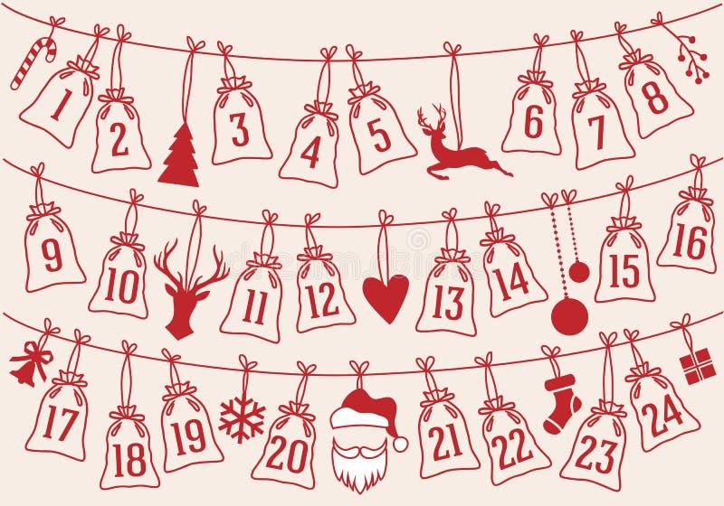 Le calendrier d'avènement avec Noël met en sac, ensemble de vecteur illustration stock