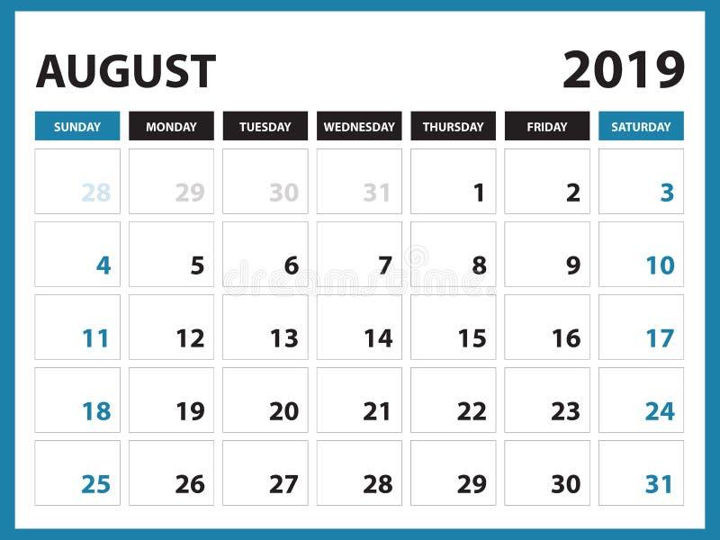 Le calendrier de bureau pour le calibre août 2019, calendrier imprimable, calibre de conception de planificateur, semaine commenc illustration de vecteur