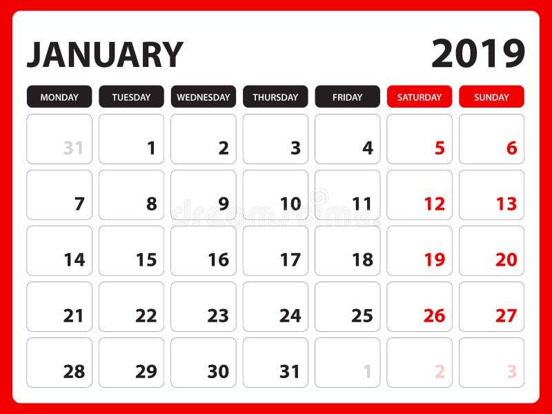 Le calendrier de bureau pour le calibre de janvier 2019, calendrier imprimable, calibre de conception de planificateur, semaine c illustration libre de droits