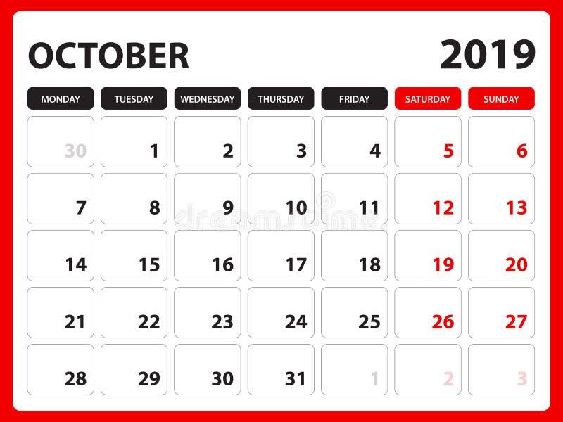Le calendrier de bureau pour le calibre octobre 2019, calendrier imprimable, calibre de conception de planificateur, semaine comm illustration stock