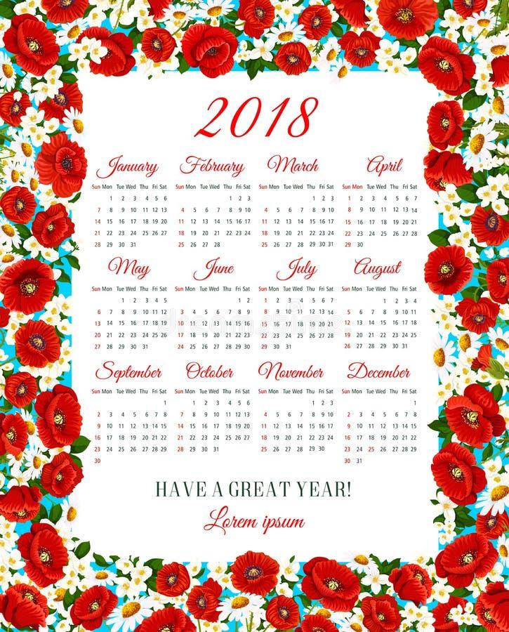 Le calendrier 2018 de vecteur du ressort fleurit le cadre illustration libre de droits