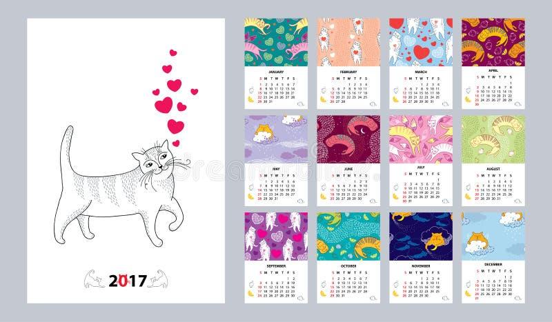 Le calendrier de vecteur a placé pendant 2017 années avec le chat drôle dans le style de découpe Début de dimanche, anglais Fond  illustration de vecteur
