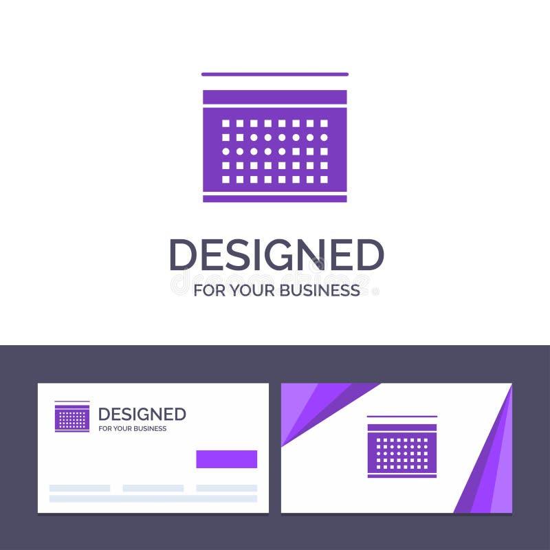 Le calendrier de visite de calibre créatif de carte de visite professionnelle et de logo, vacances, date, vacances dirigent l'ill illustration libre de droits
