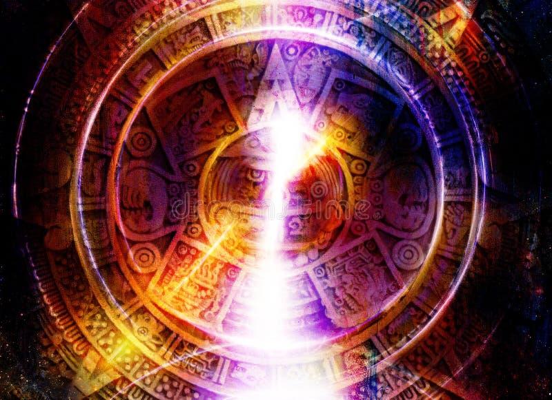 Le calendrier et la lumière maya antiques entourent l'effet, fond abstrait de couleur, collage d'ordinateur illustration libre de droits