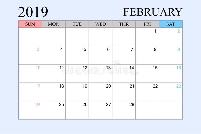2019 le calendrier, février, planificateur de programme, organisateur, semaines commencent à partir du dimanche illustration de vecteur