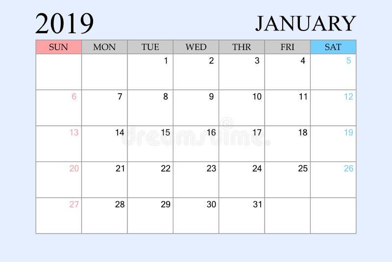 2019 le calendrier, janvier, planificateur de programme, organisateur, semaines commencent à partir du dimanche illustration de vecteur