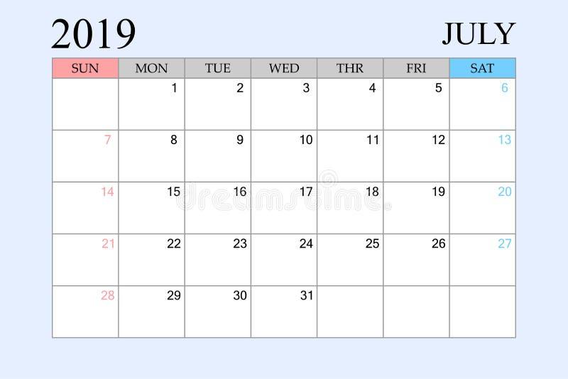 2019 le calendrier, juillet, planificateur de programme, organisateur, semaines commencent à partir du dimanche illustration stock