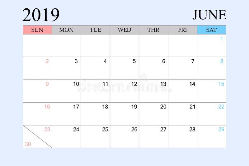 2019 le calendrier, juin, planificateur de programme, organisateur, semaines commencent à partir du dimanche illustration stock