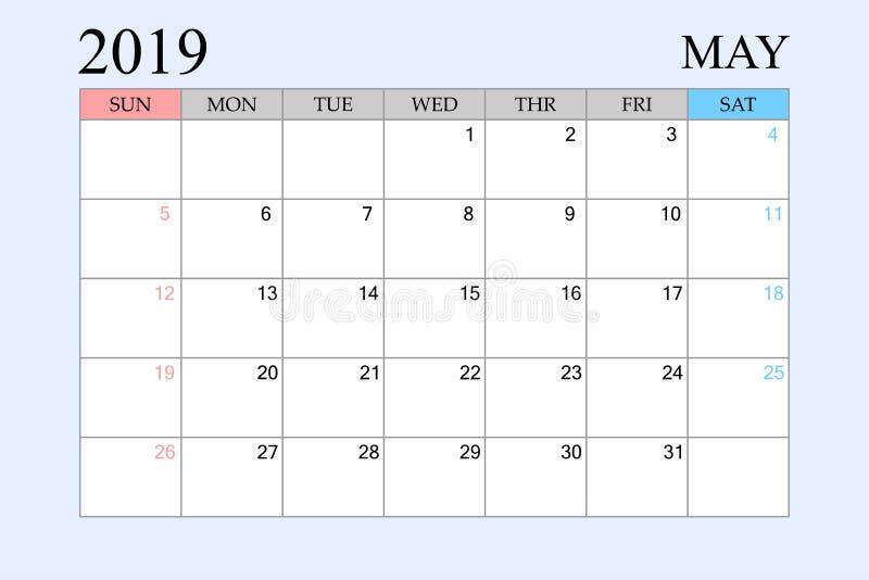 2019 le calendrier, mai, planificateur de programme, organisateur, semaines commencent à partir du dimanche illustration libre de droits