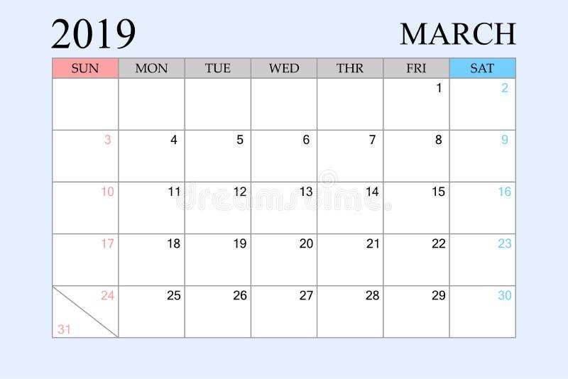 2019 le calendrier, mars, planificateur de programme, organisateur, semaines commencent à partir du dimanche illustration libre de droits