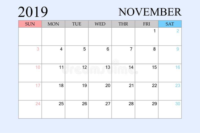 2019 le calendrier, novembre, planificateur de programme, organisateur, semaines commencent à partir du dimanche illustration stock