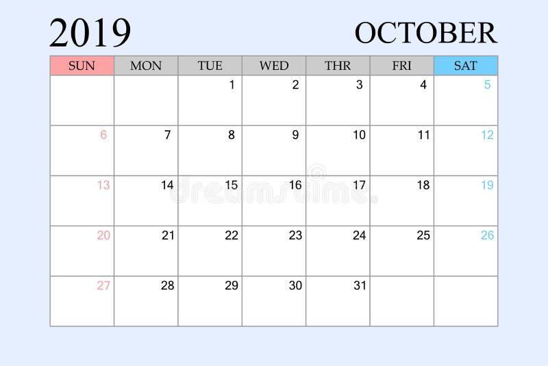 2019 le calendrier, octobre, planificateur de programme, organisateur, semaines commencent à partir du dimanche illustration de vecteur