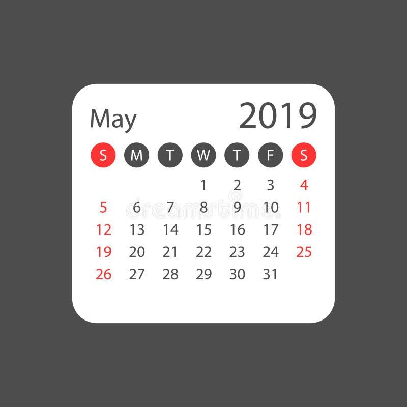 Le calendrier peut 2019 ans dans le style simple Conception de planificateur de calendrier illustration de vecteur