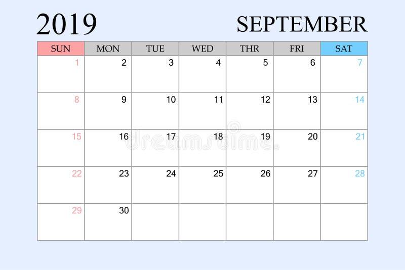 2019 le calendrier, septembre, planificateur de programme, organisateur, semaines commencent à partir du dimanche illustration libre de droits