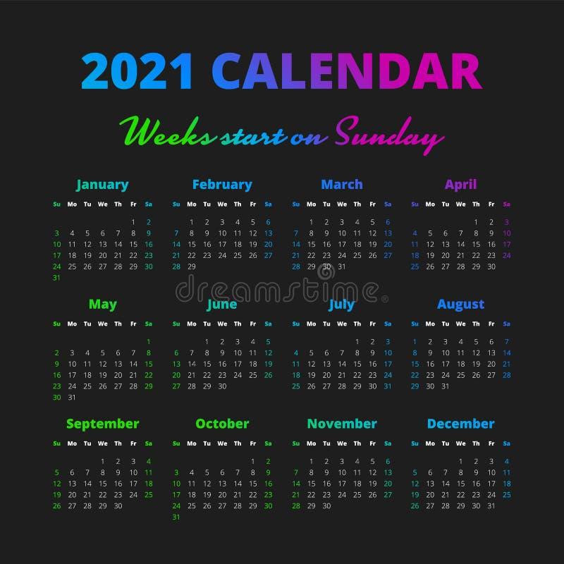 Le Calendrier Simple De 2021 Ans, Semaines Commencent Le Dimanche