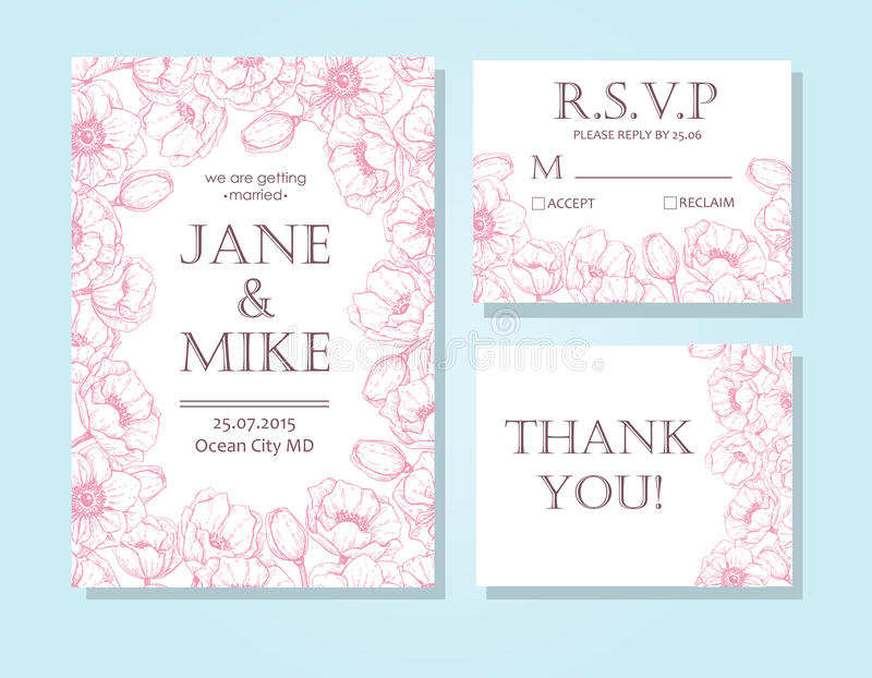 Le calibre élégant de carte d'invitation de mariage de vintage a placé avec l'anemon illustration libre de droits