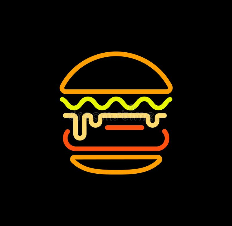 Le calibre abstrait de logo de vecteur d'ensemble d'hamburger, les aliments de préparation rapide a isolé l'icône stylisée de sch illustration de vecteur