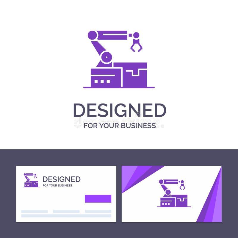 Le calibre créatif de carte de visite professionnelle et de logo de visite a automatisé, robotique, bras, illustration de vecteur illustration de vecteur