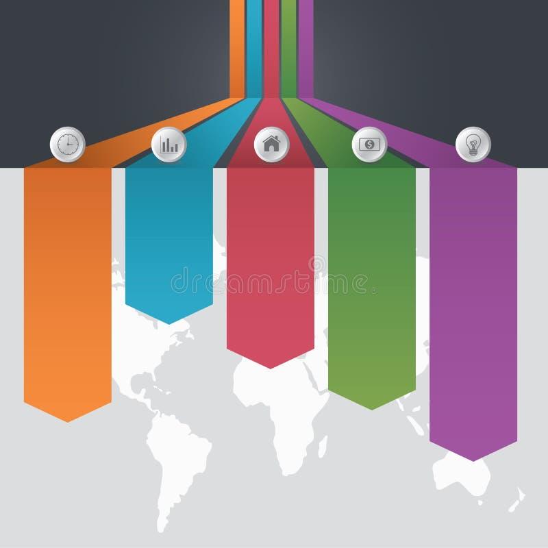 Le calibre d'Infographic de l'option cinq différente et une carte du monde avec des points d'intérêt et affaires team des personn illustration de vecteur