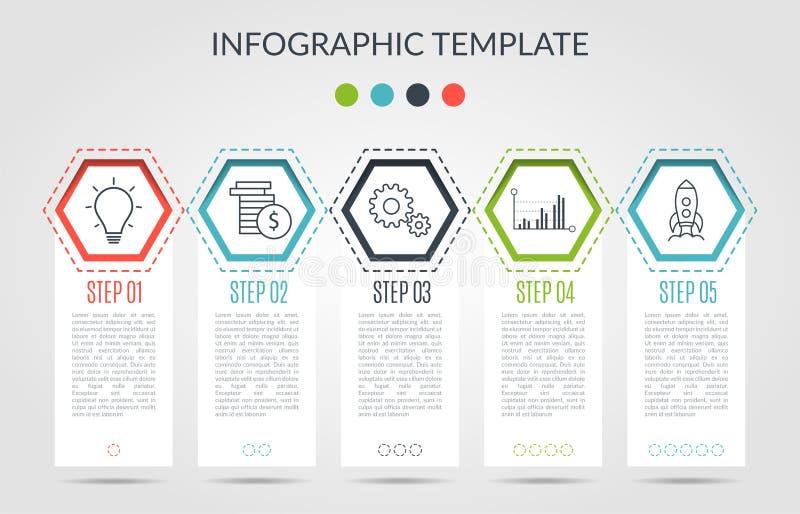 Le calibre d'infographics d'affaires le concept est étape d'option de hxagon avec l'icône Peut être employé pour le diagramme d'i illustration stock