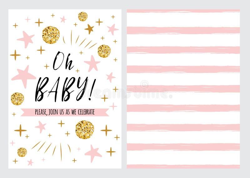 Le calibre d'invitation de fête de naissance, backgtround avec les étoiles roses conçoivent, dirigent le bébé d'ensemble oh illustration libre de droits