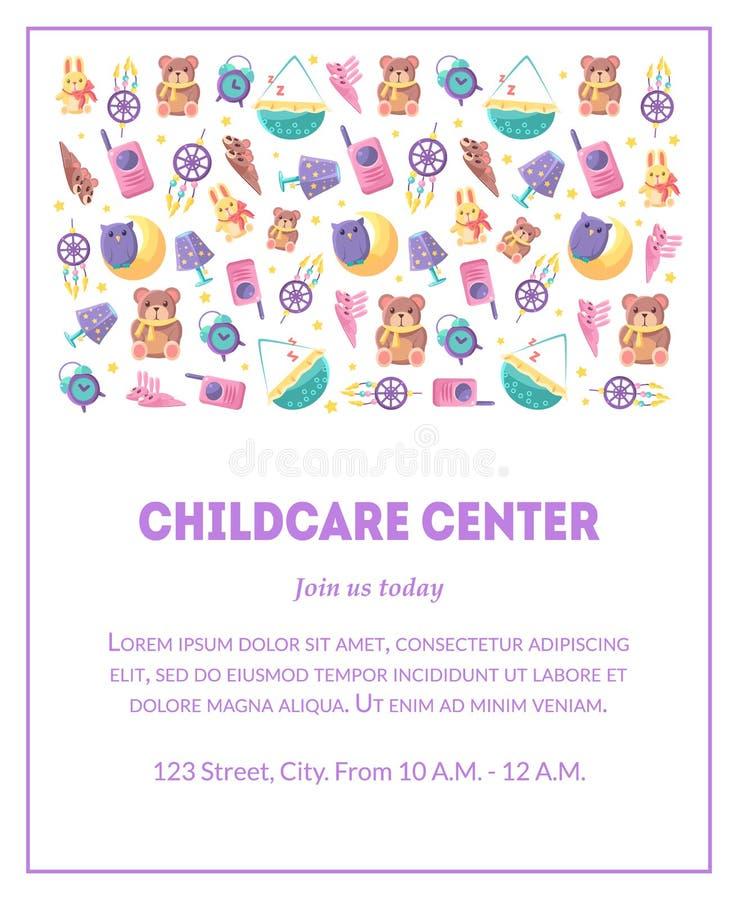 Le calibre de bannière de centre de Childcare avec les jouets mignons de bébé et l'endroit pour le texte, élément de conception p illustration de vecteur
