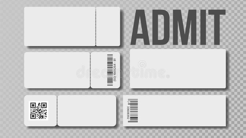 Le calibre de blanc de conception de admettent le vecteur d'ensemble de billet illustration libre de droits