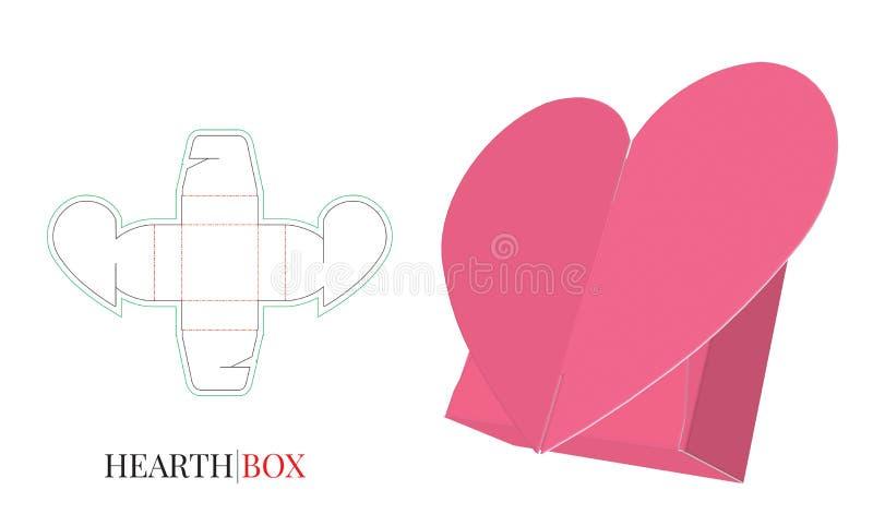 Le calibre de boîte-cadeau de coeur, vecteur avec découpé/laser avec des matrices a coupé la couche Coupe et pli, boîte à sucreri illustration libre de droits