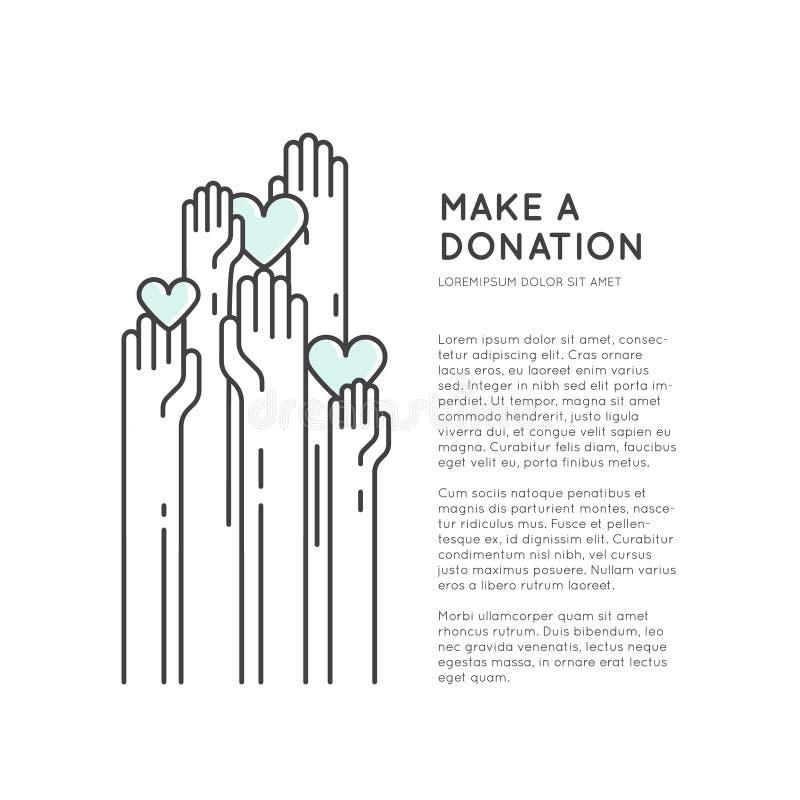 Le calibre de carte ou d'affiche avec la charité et la collecte de fonds objecte illustration de vecteur