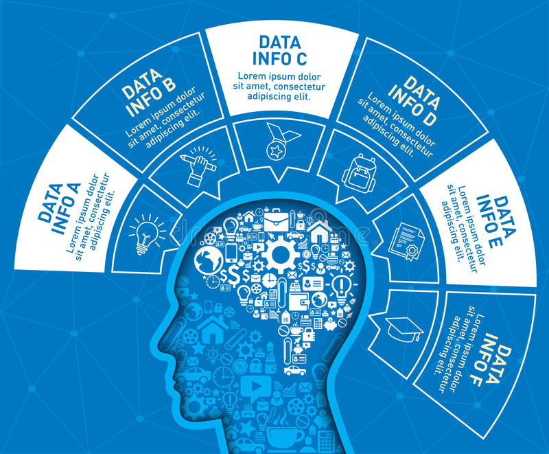Le calibre de conception d'Infographic avec la tête est rempli par un petit élément d'icône illustration stock