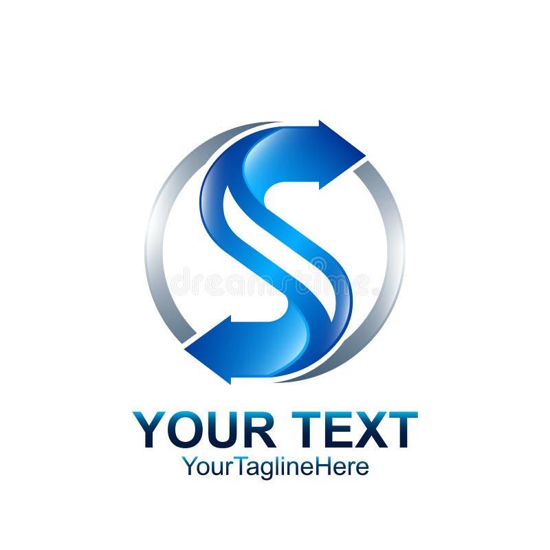Le calibre de conception de logo de la lettre S a coloré la flèche bleue argentée d de cercle illustration libre de droits