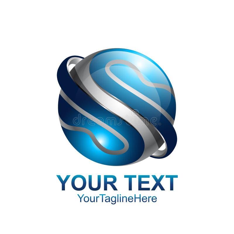 Le calibre de conception de logo de la lettre S a coloré la sphère bleue argentée de cercle illustration stock