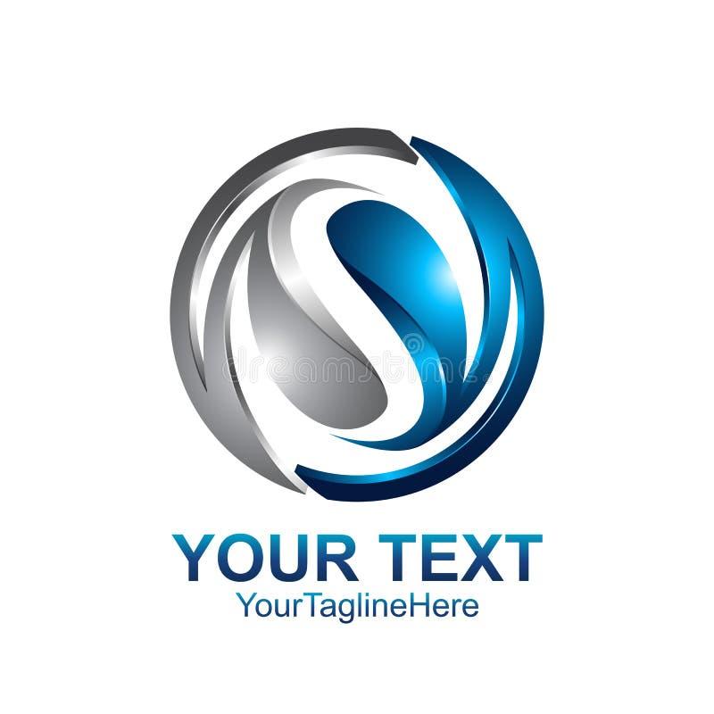 Le calibre de conception de logo de la lettre S a coloré la sphère bleue argentée de cercle illustration libre de droits