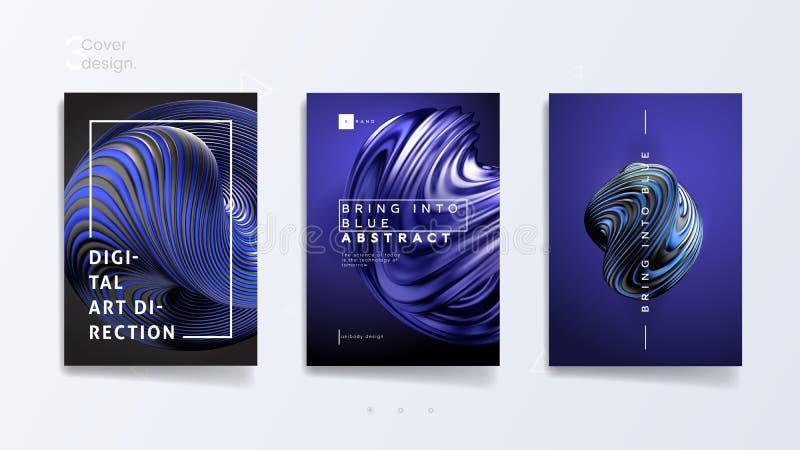 Le calibre de couverture abstrait réglé avec 3d à la mode a tordu la forme - introduisez dans le bleu, peut être employé pour la  illustration libre de droits