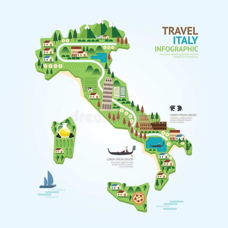 Le calibre de forme de carte de l'Italie de voyage et de point de repère d'Infographic conçoivent illustration libre de droits