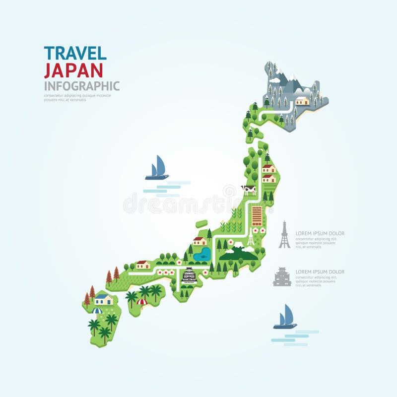 Le calibre de forme de carte du Japon de voyage et de point de repère d'Infographic conçoivent illustration de vecteur